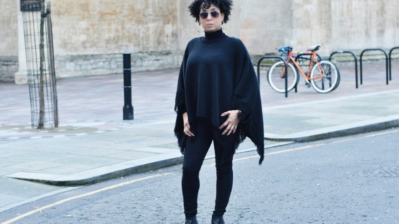 Black Poncho and Black Ankle Boot